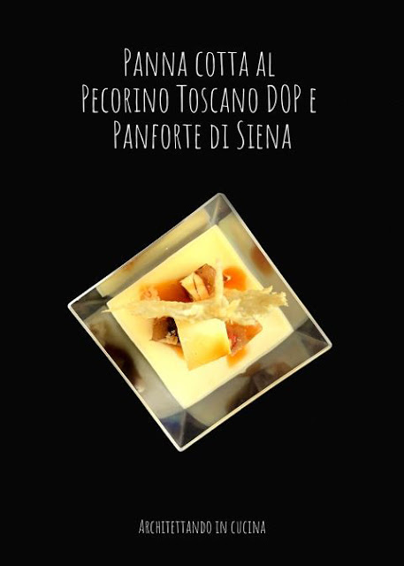 Panna cotta al pecorino toscano DOP e Panforte di Siena