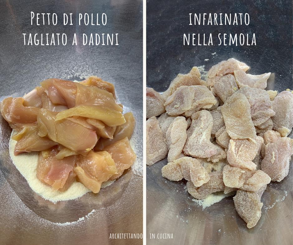 Pollo agli aromi in crosta di semolino