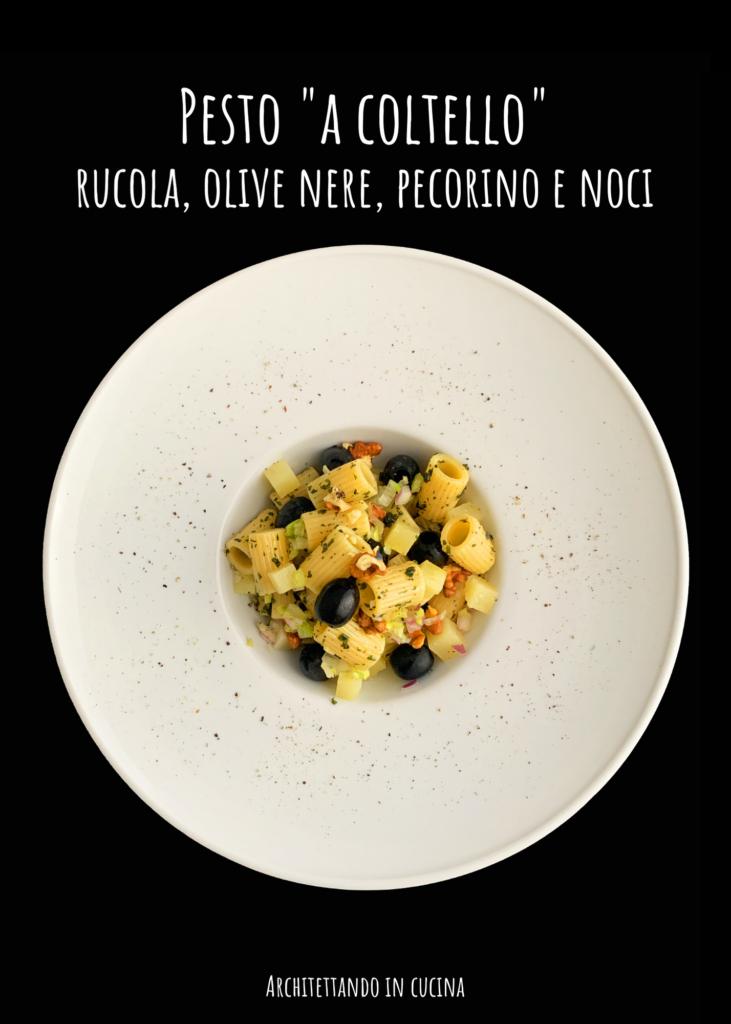 """Pesto """"a coltello"""" rucola, olive nere, pecorino e noci"""