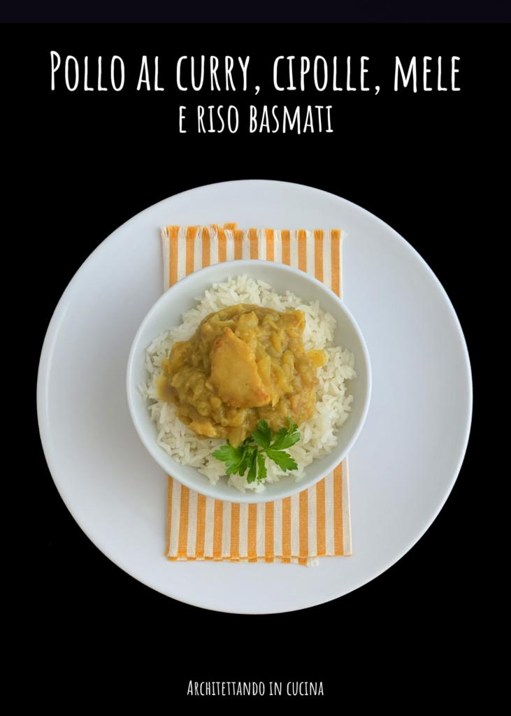 Pollo al curry con cipolle, mele e riso Basmati
