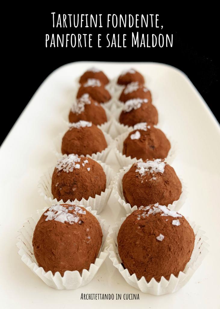 Tartufini cioccolato fondente, panforte di Siena e sale Maldon