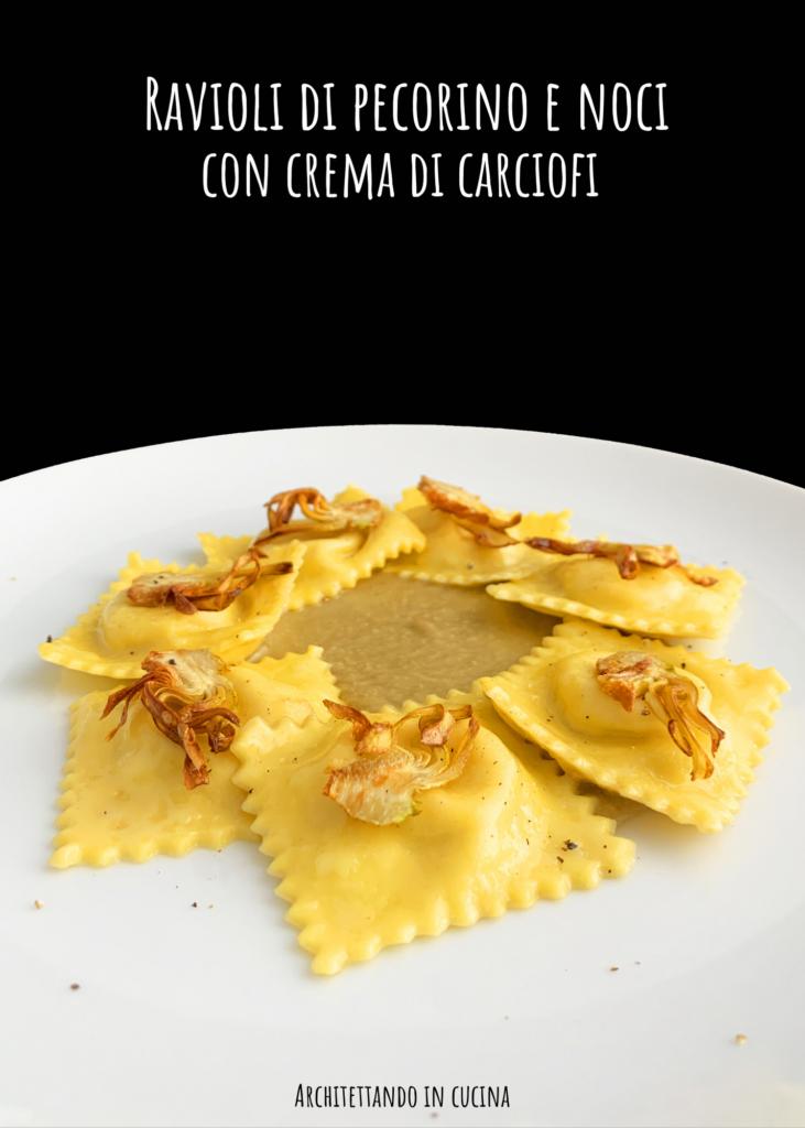 Ravioli di pecorino e noci con crema di carciofi